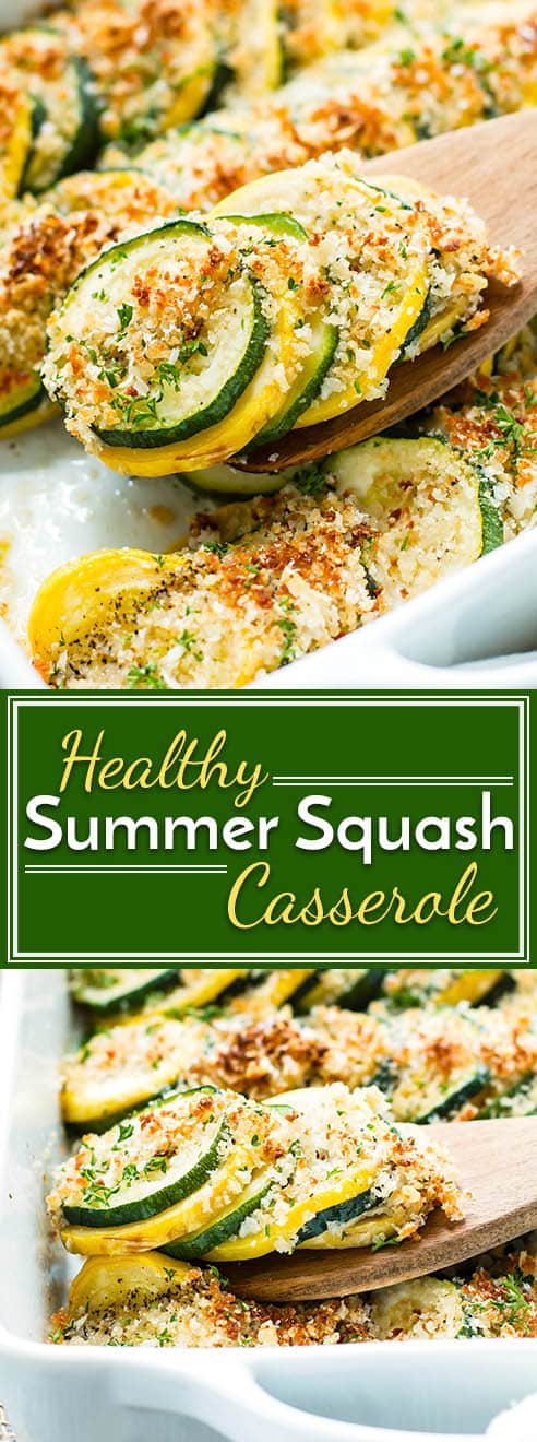 Healthy + Easy Summer Squash Casserole with Zucchini and Yellow Squash | Use up all of your summer squash in this super easy and healthy squash casserole. Made with yellow squash and zucchini squash, this recipe is a quick side dish for any meal.