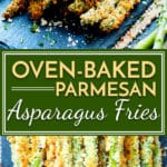 Parmesan asparagus fries are baked in the oven to crispy perfection. They are ahealthier alternative to french fries and are vegetarian and gluten-free!