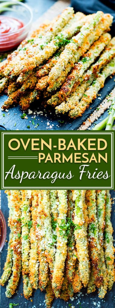 Parmesan asparagus fries are baked in the oven to crispy perfection.  They are a healthier alternative to french fries and are vegetarian and gluten-free!