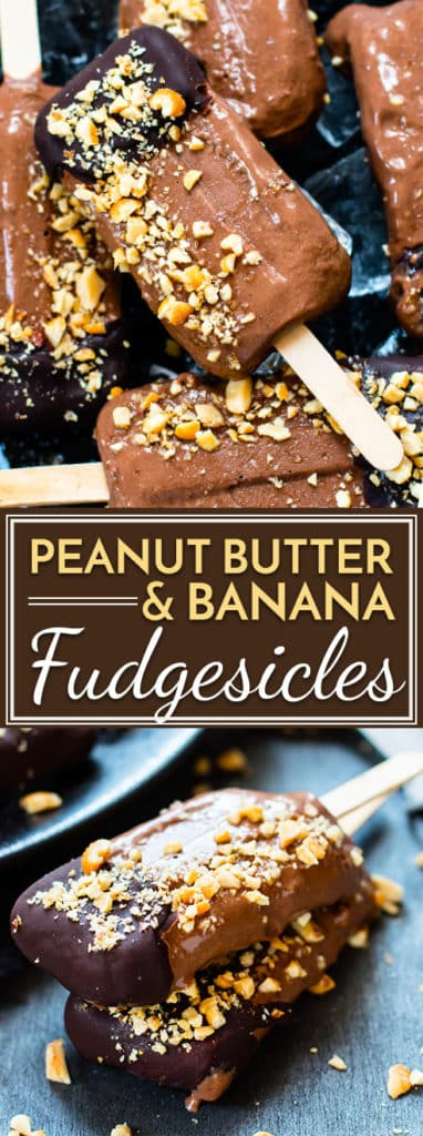Cool off during the hot summer months by whipping up a batch of these banana and peanut butter fudgesicles made with coconut milk.  They are a healthy frozen treat that kids (and adults!) will love!