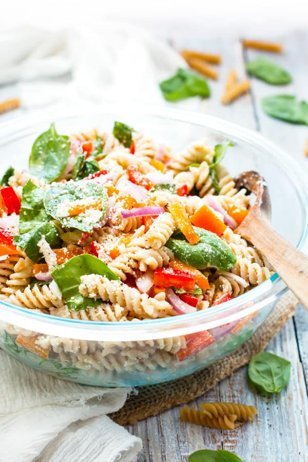 Italian Dressing Pasta Salad with Parmesan