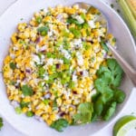 An easy corn salad recipe with Mexican cuisine ingredients and fresh lime juice.