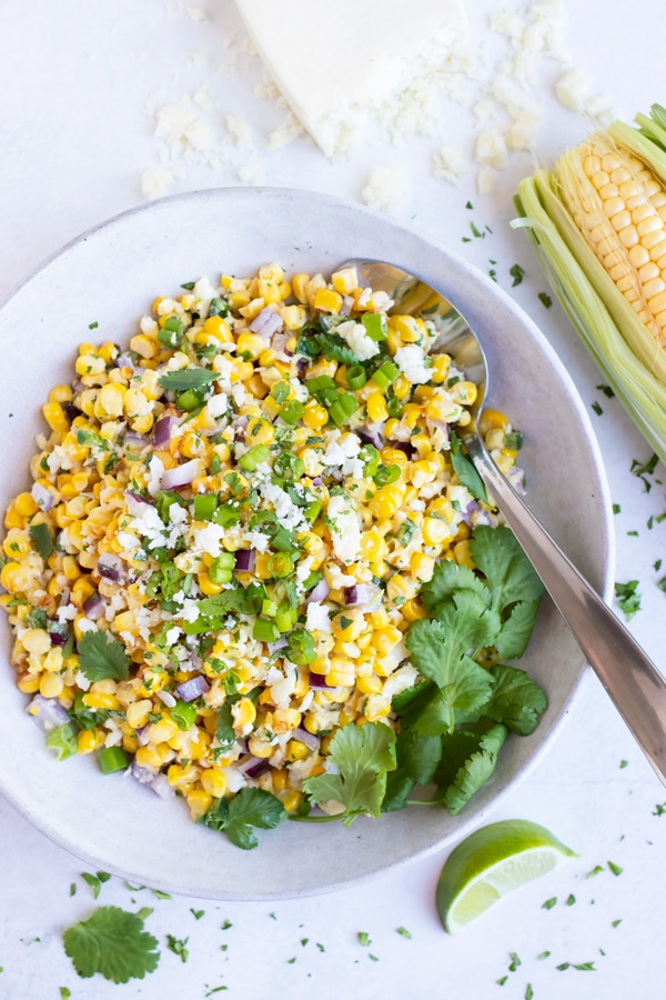 An easy Mexican side dish corn recipe that can be served with fajitas or tacos.