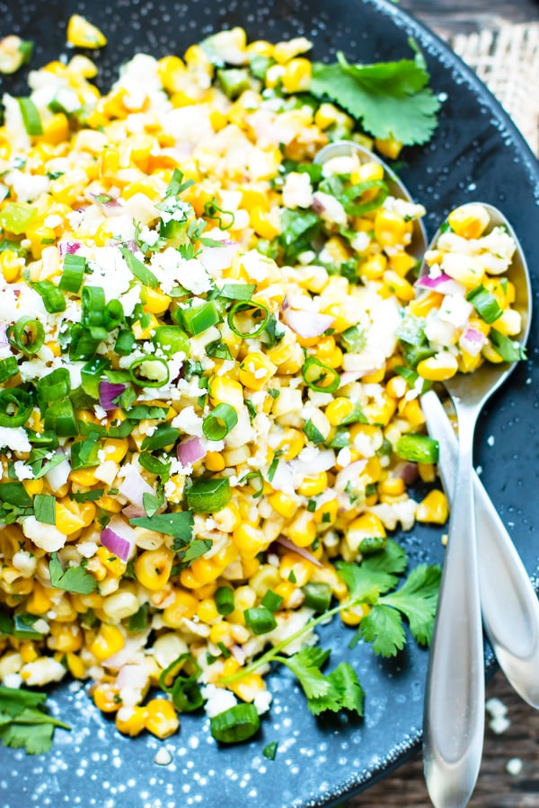 Easy Mexican Street Corn Salad on a plate for an easy lunch.