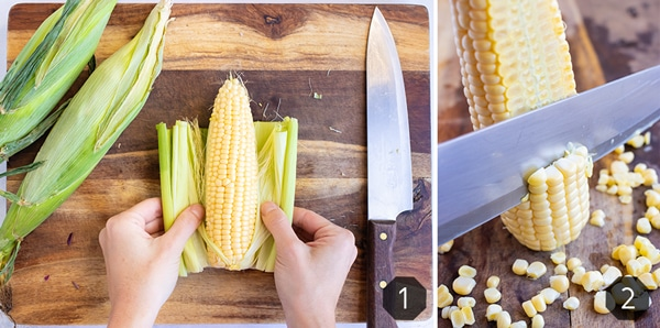 Two images showing how to cut corn off the cob and remove the husks and silk strands.