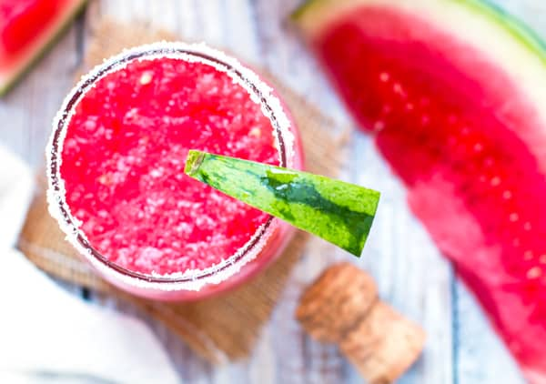 The top of a glass of gluten-free Watermelon Tequila Fizz with Champagne for a sweet summer treat.