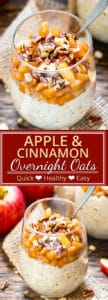 Apple Cinnamon Overnight Oats will make you want to roll outta' bed! This healthy breakfast recipe is made with fresh apples, gluten-free oats, and almond milk, is refined sugar-free and vegan, and tastes like you're eating apple pie.