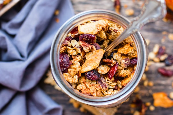 Get ready for your house to smell like Fall when you bake up this maple pecan apple cinnamon granola. Gluten-free, vegan, vegetarian, dairy-free and SUPER addicting breakfast or snack recipe for the Fall season!!
