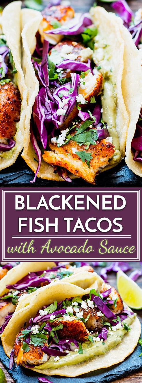 Easy Blackened fish tacos are paired with a cabbage slaw and a refreshing avocado, cilantro and lime sauce for an epic taco combo! These healthy fish tacos are a great gluten-free dinner or lunch recipe and can be made with tilapia, cod, or any other white-fleshed fish.