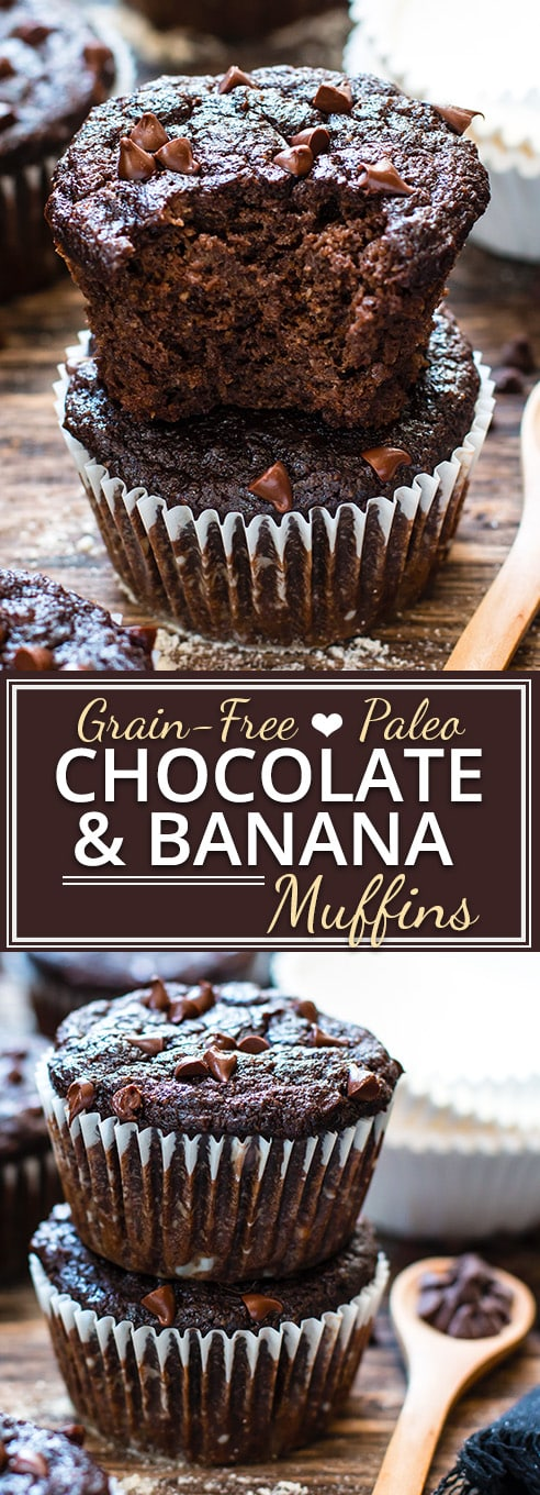 A super easy recipe for Healthy Chocolate Muffins!  These super moist Paleo chocolate banana muffins are healthy enough to eat for breakfast!!  They're made with coconut flour, almond flour and sweetened with pure maple syrup for a grain-free, gluten-free, dairy-free and healthy Paleo muffin recipe.
