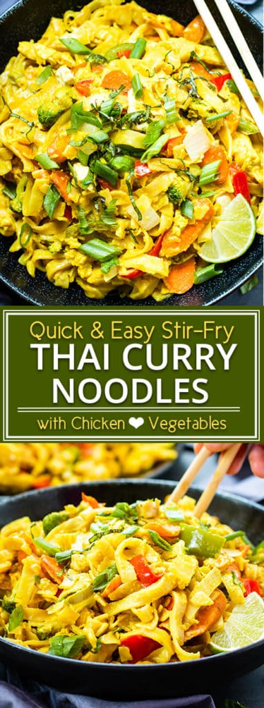 Golden Thai Curry Noodles are loaded with vegetables and protein and have become one of ourgo-to dishes at our favorite Thai restaurant. With a few simple tweaks, this stir-fry dish can easily bemade gluten-free, vegan, vegetarian, Paleo and low-carb!
