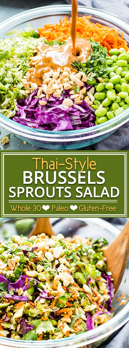 Thai-style shredded brussels sprouts salad is a super light and refreshing meal that is still full of flavor.  It is loaded with raw vegetables and topped with a Thai-style almond butter dressing for the perfect vegan, Paleo, and whole 30 dinner recipe!