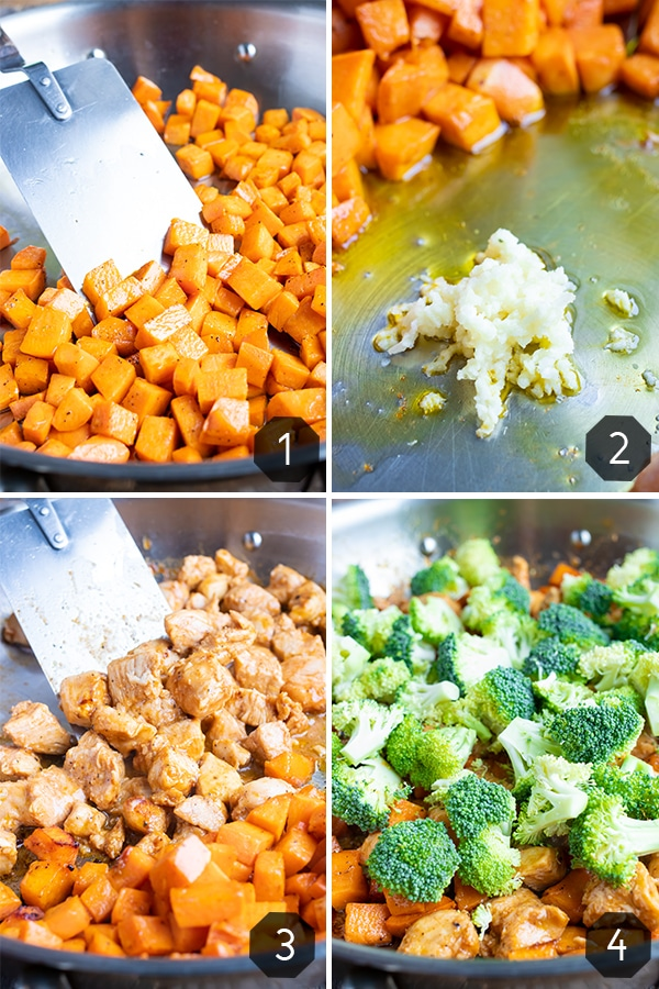 Step-by-step photos showing how to make a one-pot chicken and sweet potato meal with barbecue sauce.