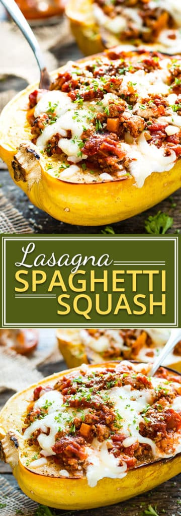Lasagna Spaghetti Squash Boats are loaded with a ground turkey spaghetti sauce and make an irresistible gluten-free and low-carb dinner recipe the whole family is sure to love!