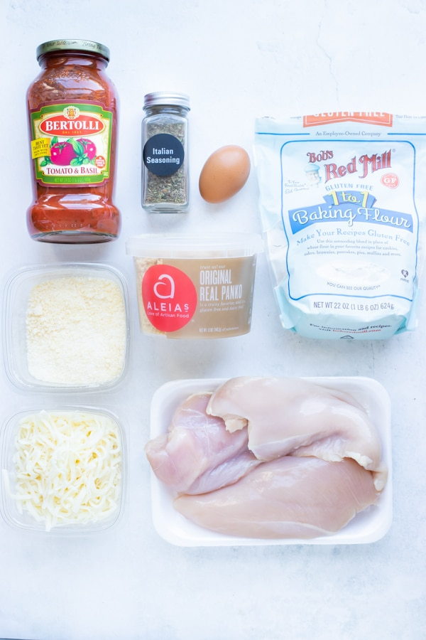 Tomato marinara sauce, egg, chicken, Parmesan cheese, mozzarella, gluten-free flour and seasonings come together in easy chicken parmesan.