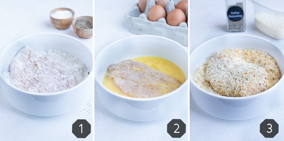 Instructional photos showing how to coat your chicken for a gluten-free crusted chicken parmesan recipe.