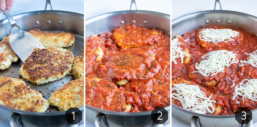 Step by step pictures for how to make easy Chicken Parmesan on the stove.