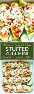 Cilantro Lime Chicken Stuffed Zucchini are such a fun and creative way to eat a healthy Paleo, ketogenic and low-carb dinner.  These zucchini boats are full of chicken, fresh lime juice, and tomatoes and can easily be into a Whole30 dinner recipe!