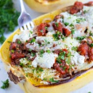 Healthy Lasagna Spaghetti Squash is an easy and healthy main dish.