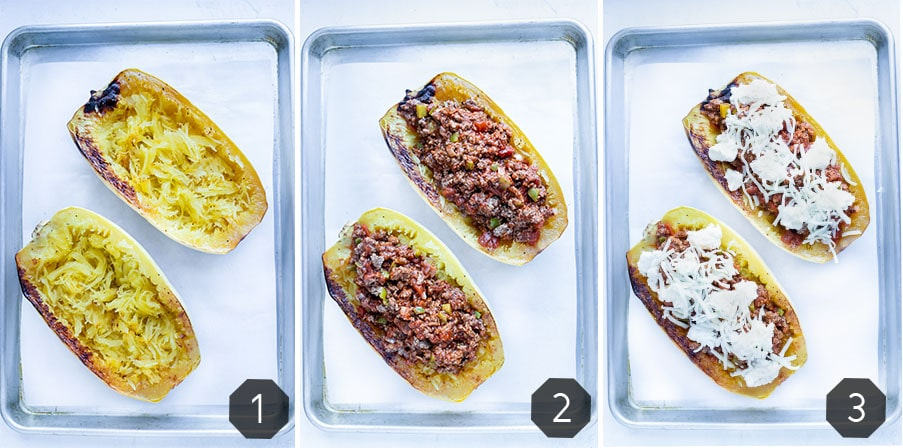 Step by step pictures for how to make roasted spaghetti squash filled with ground turkey, sauce, and cheese.