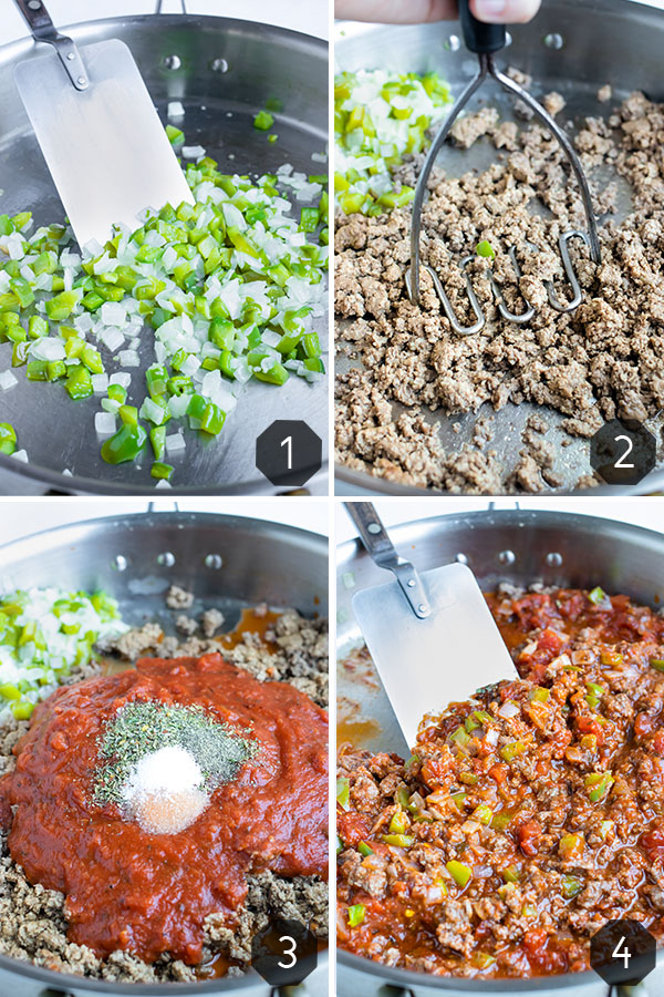 Instructional pictures for how to make filling for Lasagna Spaghetti Squash recipe.