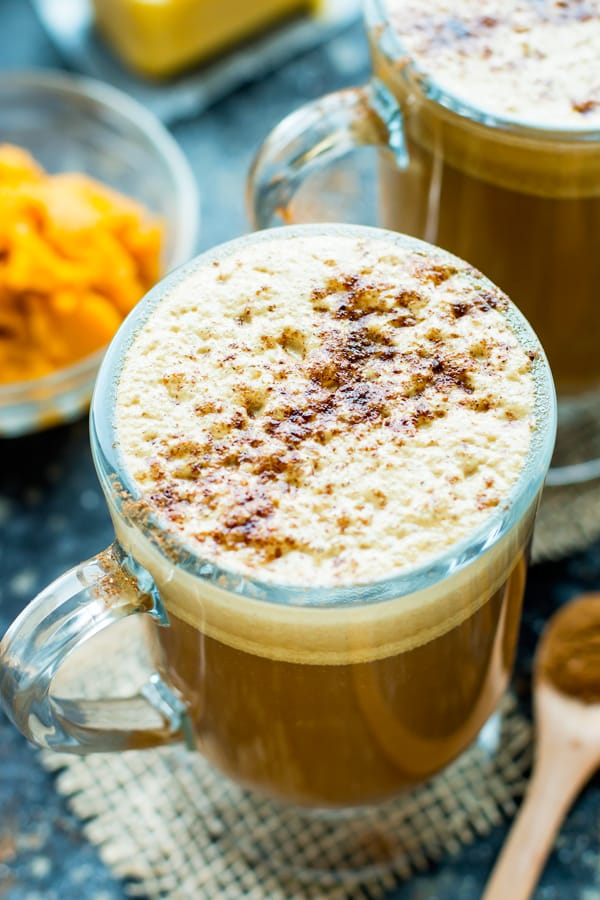 A glass of gluten-free pumpkin spice coffee for an easy afternoon beverage.