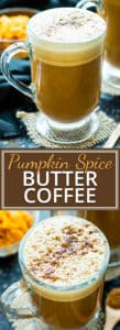 Wake up and enjoy the flavors of Fall with this Pumpkin Spice Butter Coffee recipe.  This BulletProof coffee recipe is full of pumpkin flavor, butter, healthy oil, and spices for a deliciously ketogenic and Paleo coffee.