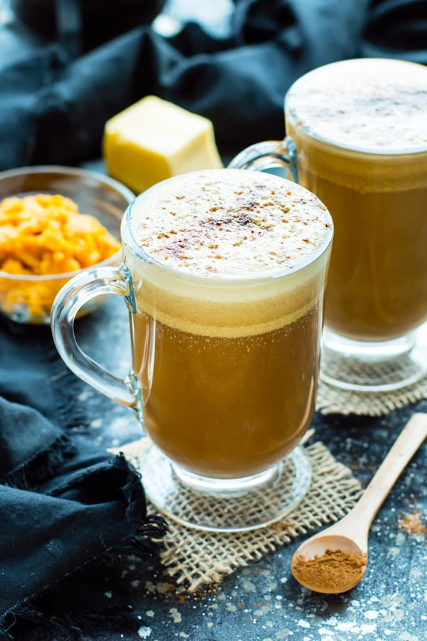 Two glasses full of Paleo Pumpkin Spice Butter Coffee for a healthy fall drink.