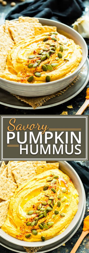Savory Pumpkin Hummus gets a bit of a kick from a few special ingredients!  This pumpkin hummus recipe makes an awesome Fall or Thanksgiving appetizer that is gluten-free, dairy-free, and vegan.