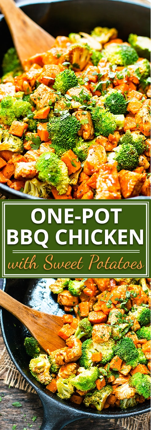 Even on those crazy-busy weeknights, you can have a healthy dinner ready in under 30 minutes with this one-pot honey BBQ chicken and sweet potatoes recipe! This one-pot dinner is full of chicken, sweet potatoes, broccoli, and tons of flavor from the BBQ sauce. It is an awesomely easy healthy chicken dinner recipe.