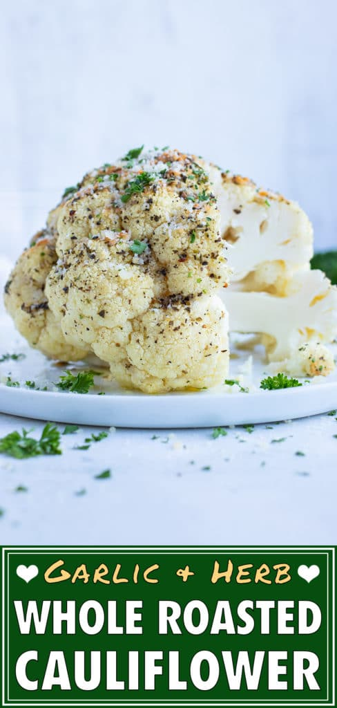 Baked cauliflower head is an easy, low-carb side dish.