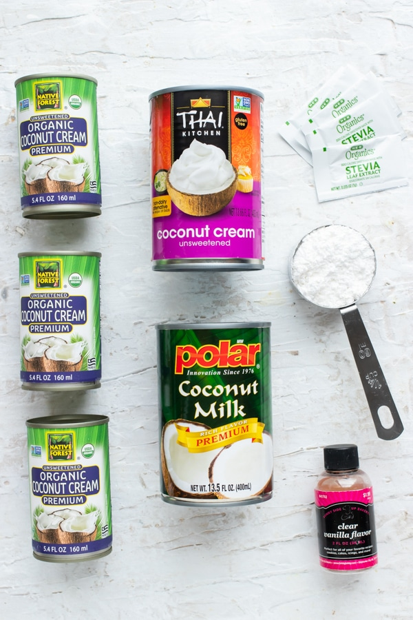 Coconut cream, powdered sugar, and vanilla extract - vegan coconut whipped cream ingredients.