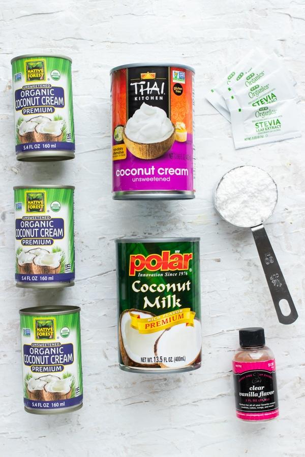 Coconut cream, powdered sugar, and vanilla extract - vegan coconut whipped cream ingredients.