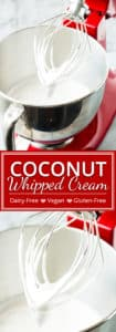 I cannot wait to show you how to make coconut whipped cream at home! With only a few ingredients, you can have this super easy, vegan and dairy-free coconut whipped cream ready to dollop on your favorite pie in less than 5 minutes.