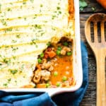 Shepherd's Pie using ground turkey recipes ready for a healthy dinner.