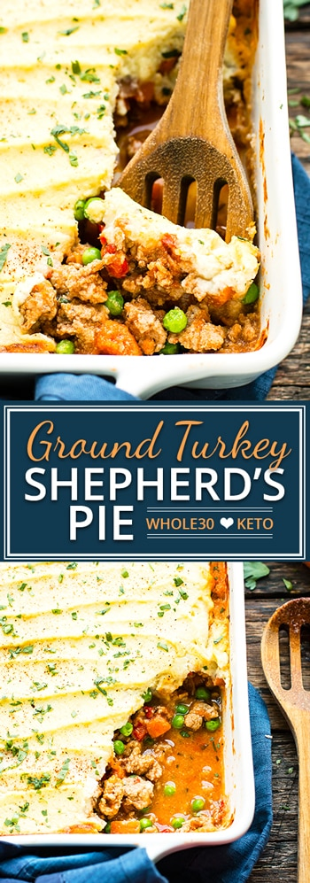 Ground Turkey Shepherd's Pie | Turkey Shepherd's Pie is made with a mashed cauliflower topping, ground turkey, and fresh herbs for a comforting low-carb dinner recipe. This is a comforting whole30 and Paleo ground turkey recipe the whole family will love!