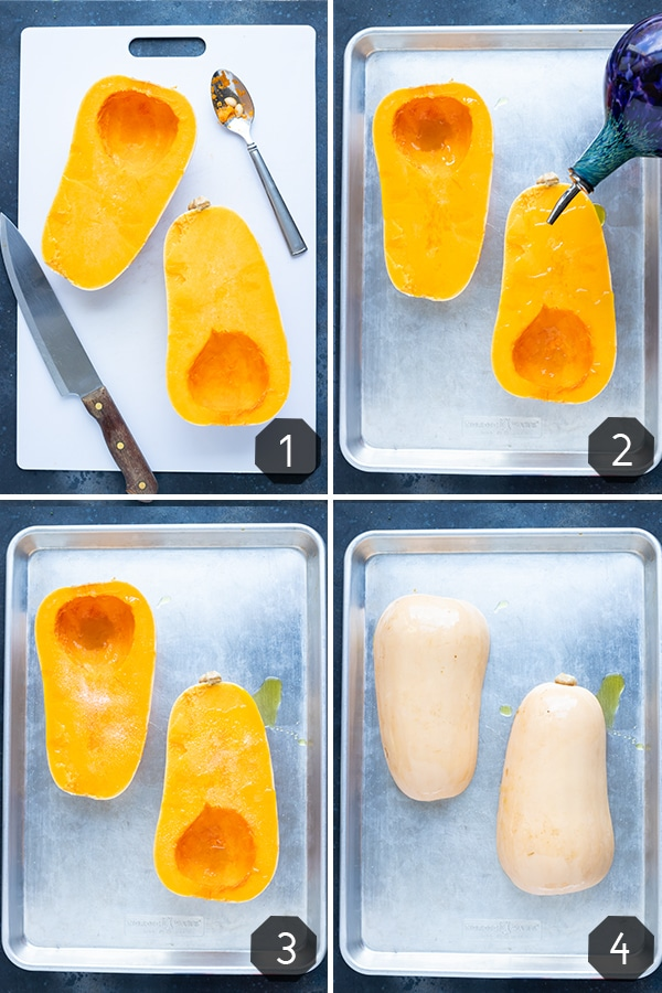 Four images showing how to roast a whole butternut squash on a sheet pan.