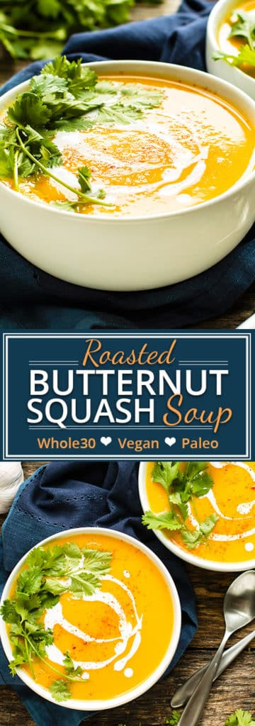 Roasted Butternut Squash Soup with Coconut Milk | Enjoy a big bowl of roasted butternut squash soup that is made with coconut milk and other Whole 30, vegan, and Paleo-friendly ingredients. It makes a wonderful main dish, appetizer, or side dish recipe.