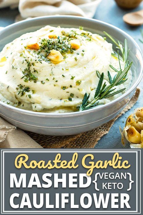 Roasted Garlic Mashed Cauliflower is a healthy vegan, ketogenic, low-carb, and Paleo cauliflower mashed potatoes recipe. They are easy to make and are sure to be a new side dish favorite at your dinner or Thanksgiving table.#evolvingtable #cauliflower #Thanksgiving #dinner #sidedish #paleo #keto #vegan