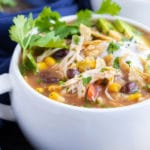 The best chicken tortilla soup recipe that is made with salsa in the Crock-Pot.