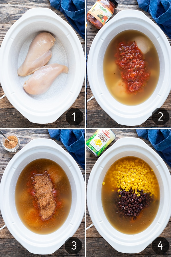 Four images showing how to make slow cooker chicken tortilla soup with salsa, corn, and black beans.
