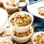 Maple Pecan Oatmeal Muffins are the perfect Fall or Winter treat to enjoy for breakfast, snack time or dessert.  These vegan oatmeal muffins are made refined sugar free and gluten-free, too!