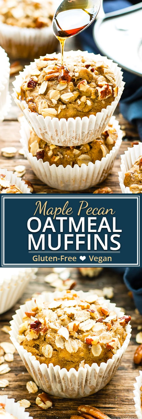 Maple Pecan Oatmeal Muffins are the perfect Fall or Winter treat to enjoy for breakfast,snack time or dessert. These vegan oatmeal muffins are made refined sugar free and gluten-free, too!