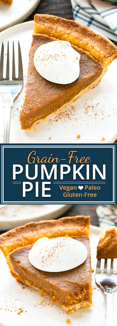 This grain-free vegan pumpkin pie will be the best Thanksgiving dessert at the table! It is made with coconut milk, sweetened with maple syrup, and is an easy-to-make dairy-free, gluten-free, vegan, and Paleo pumpkin pie recipe your whole family will love.