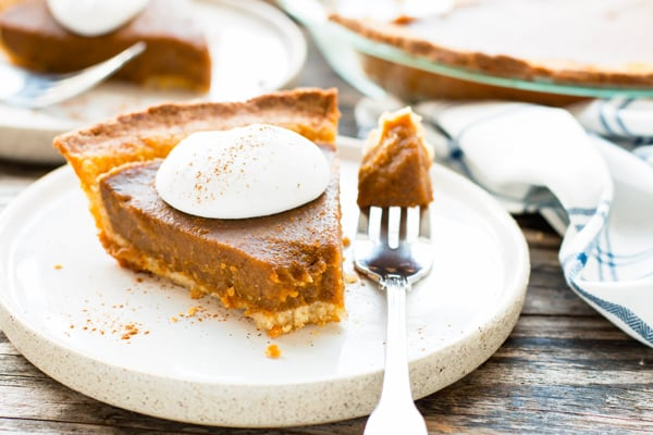 A piece of a gluten-free pumpkin pie recipe on a plate for a healthy dessert.