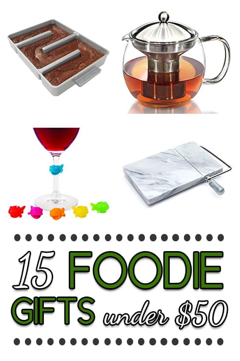 This is the ultimate gift guide with fifteen foodie gifts that are all under $50!!  If you are in need of a gift for a food-lover, you have come to the right place!