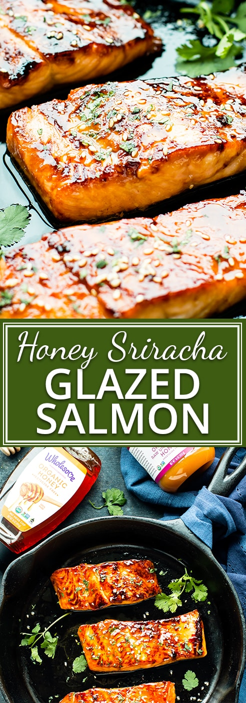 Honey Sriracha Glazed Salmon is a dinnertime show stopper!  Only a few simple ingredients are needed to make a spicy-sweet honey sriracha marinade and glaze.  This post has been sponsored by Wholesome™.  All thoughts and opinions are my own.