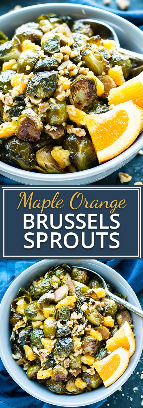 Orange & Maple Glazed Brussels Sprouts is a stunning side dish that is sure to impress guests at your Thanksgiving or holiday table.  These roasted Brussels sprouts are free of gluten, grain, and refined sugar and can easily be made vegan!