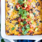 This Mexican casserole is served for a breakfast for the holidays.