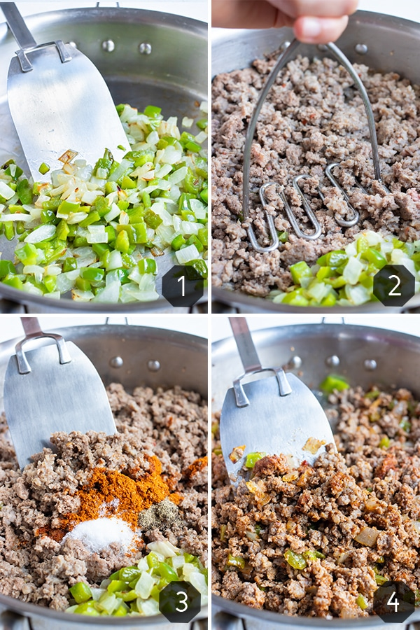 Instructional pictures for how to cook the ground meat.